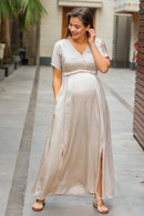 Elegant Pearl Split Hem Maternity & Nursing Dress - MOMZJOY.COM
