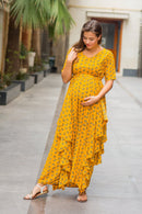 Luxe Marigold Floral Maternity Flow Dress - MOMZJOY.COM