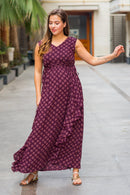 Luxe Plum Pattern Maternity Flow Dress