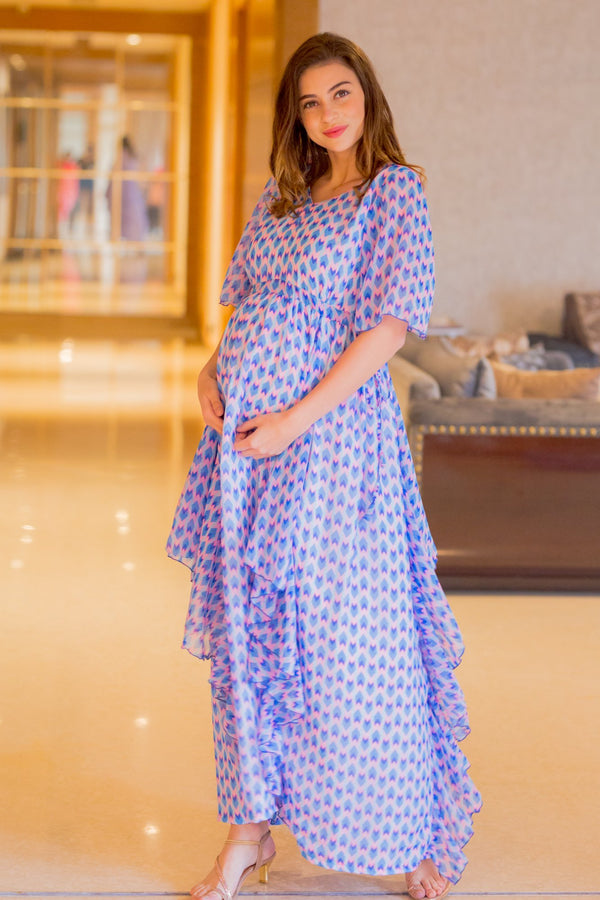 Pastel Blue Pink Luxe Maternity Dress - MOMZJOY.COM