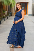 Luxe Sapphire Gold Sprinkle Embellished Maternity Flow Dress - MOMZJOY.COM