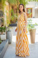 Mustard Striped Maternity & Nursing Dress - MOMZJOY.COM