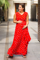 Luxe Cherry Bloom Maternity Flow Dress - MOMZJOY.COM