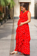 Luxe Cherry Bloom Maternity Flow Dress