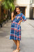 Navy Peach Plaid Pintucks Nursing Dress