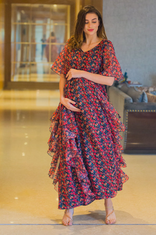 Auburn Floral Embellished Luxe Maternity Dress - MOMZJOY.COM