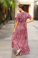 Bubblegum Pink Hi-Low Frill Maternity & Nursing Wrap Dress - MOMZJOY.COM