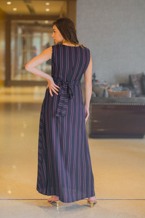 Royal Wide Striped Maternity and Nursing Maxi - MOMZJOY.COM
