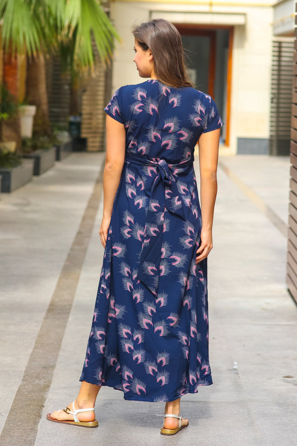 Navy Feather Maternity Knot Dress