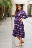 Slick Violet Plaid Maternity & Nursing Button Dress