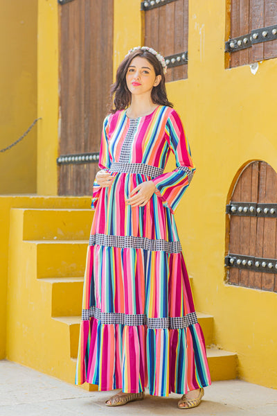 Vivacious Stripes Maternity & Nursing Dress