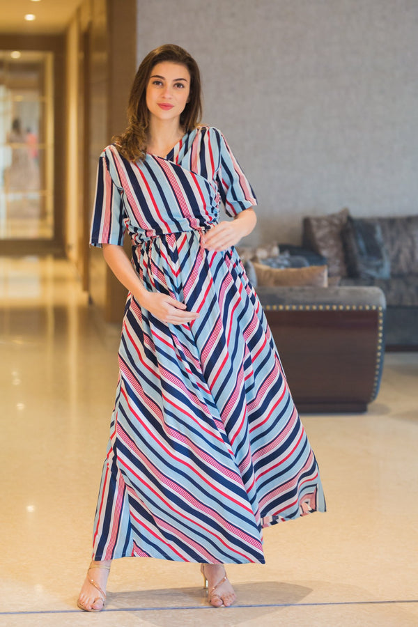 Baby Blue Striped Maternity & Nursing Wrap Dress - MOMZJOY.COM