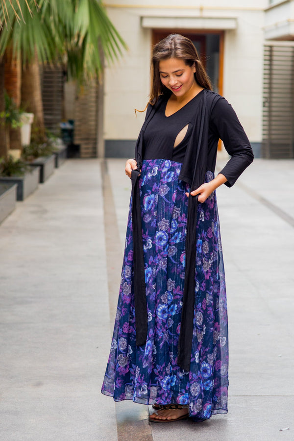 Luxe Violet Floral Chiffon Maternity & Nursing Wrap Dress