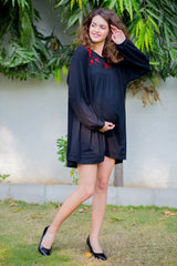 Red crochet Stretchable Maternity Black Dress