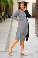 Asymmetrical Solid Stripe Maternity Dress - MOMZJOY.COM