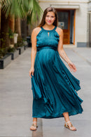 Luxe Teal Ruching Maternity Flow Dress