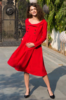 Elegant Candy Crepe Collared Maternity & Nursing Dress - MOMZJOY.COM