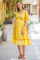 Sunshine Yellow Front Zip Maternity & Nursing Frill Dress - MOMZJOY.COM