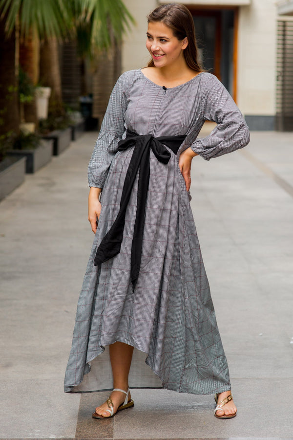 Classic Dual Front Bow High-Low Maternity & Nursing Dress - MOMZJOY.COM