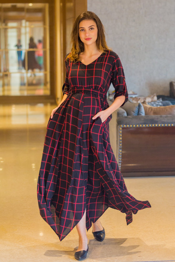 Elegance Check Maternity & Nursing Maxi Dress - MOMZJOY.COM