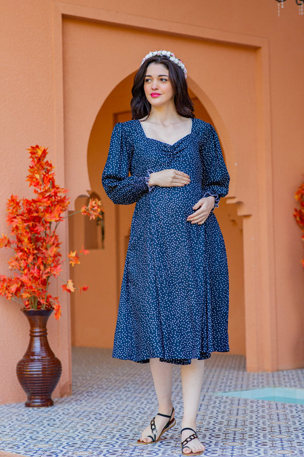 Blue Sprinkle Maternity & Nursing Dress