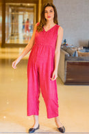 Taffy Polka Cotton Maternity Jumpsuit - MOMZJOY.COM