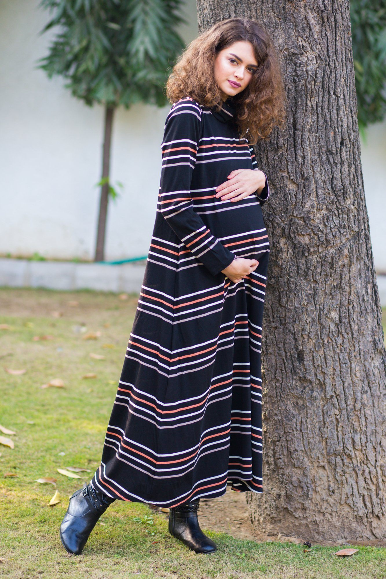 Premium Striped Stretchable Maternity Dress