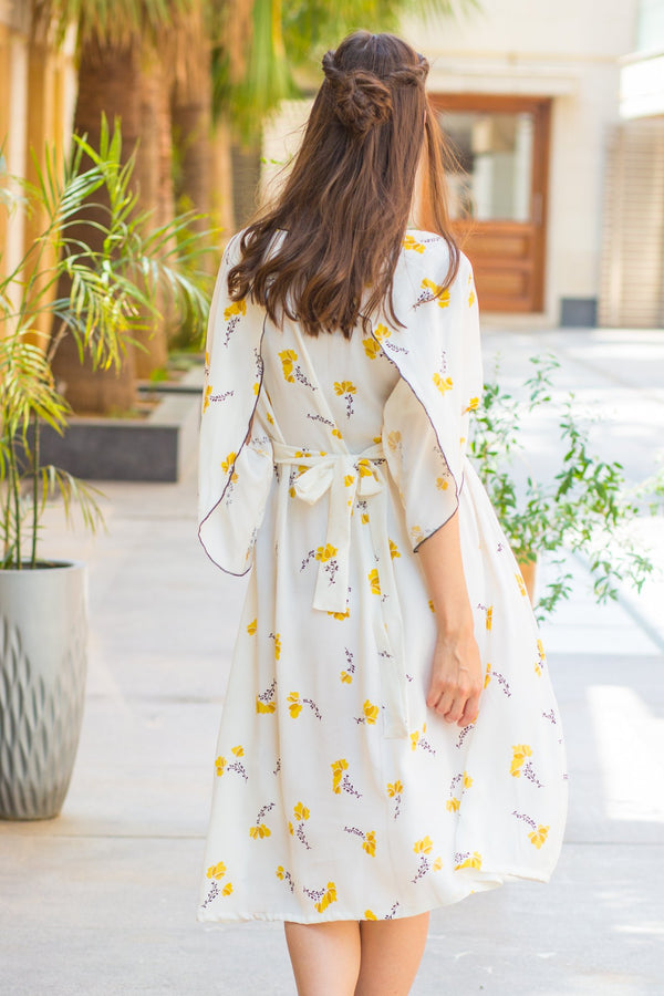 Pristine White Yellow Maternity & Nursing Flap Dress