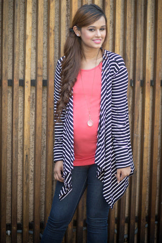 Black & White Striped Cascading Maternity Cover Up - Pregnancy Clothes -MOMZJOY.COM - 4