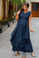 Luxe Navy Gold Speckle Embellished Maternity Flow Dress