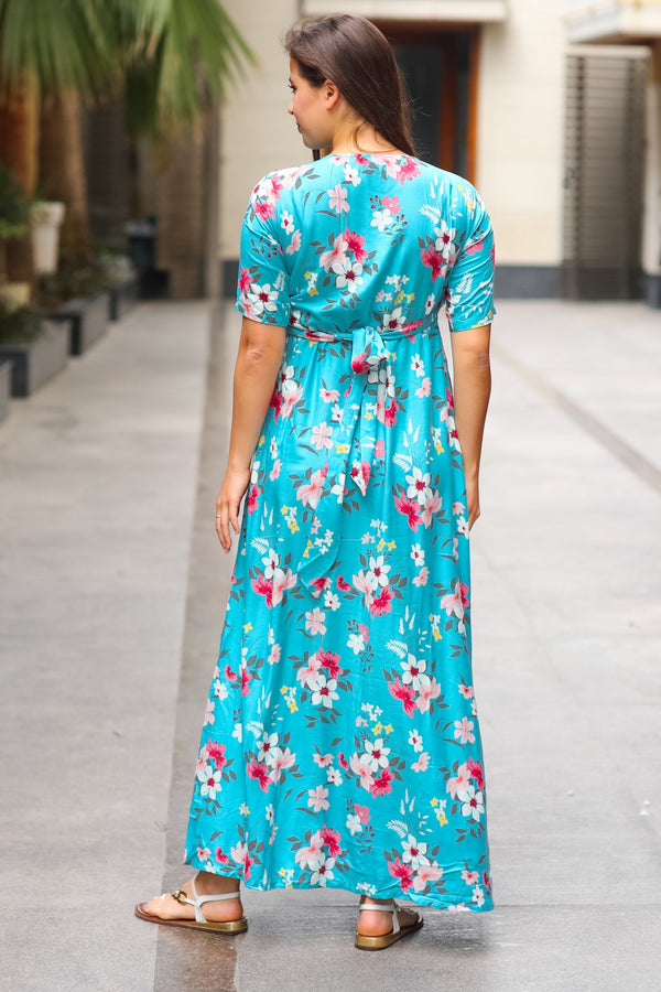 Baby Blue Floral Maternity & Nursing Wrap Dress - MOMZJOY.COM