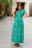 Exquisite Emerald Green Maternity Knot Dress - MOMZJOY.COM