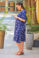 Navy Floral Sprinkle Maternity & Nursing Flap Dress