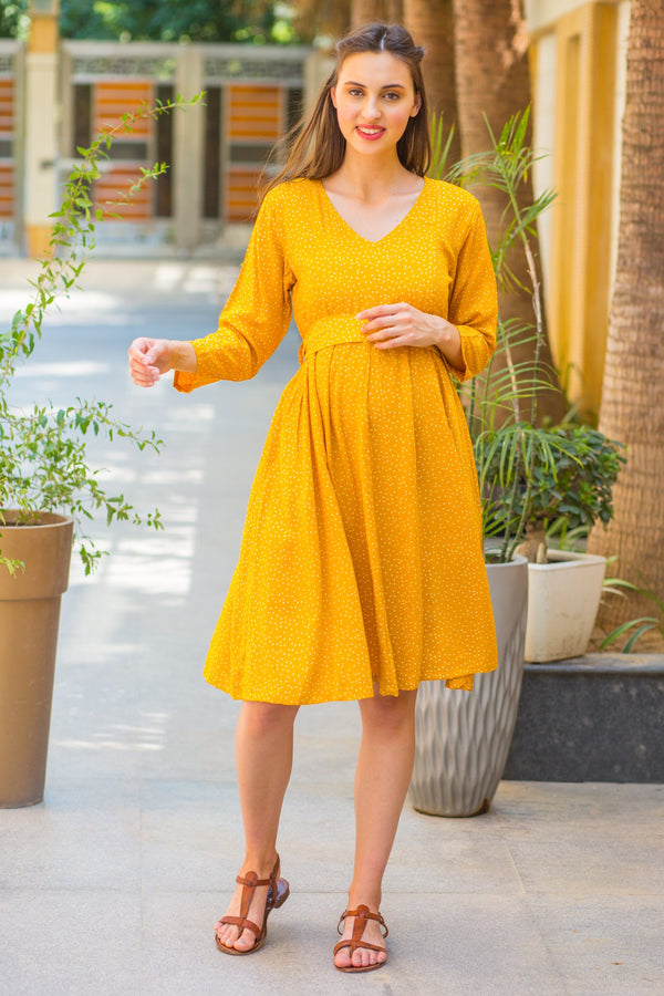 Chirpy Yellow Polka Maternity & Nursing Dress - MOMZJOY.COM