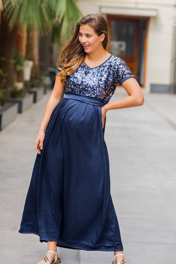 Luxe Blue Silver Sequin Maternity Dress