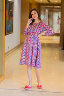 Taffy Patterned Concealed Zip Maternity & Nursing Dress - MOMZJOY.COM