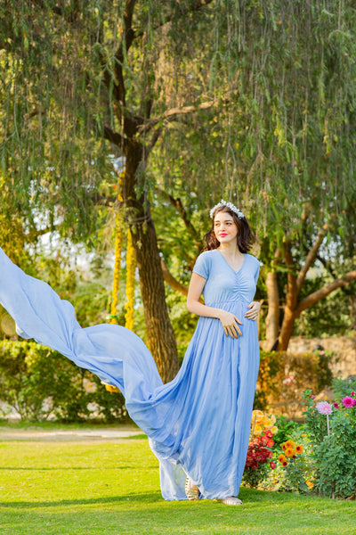 Baby Blue Trail Maternity Photoshoot Gown