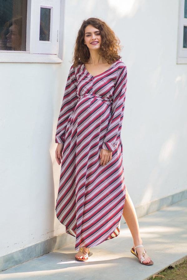 Crimson Striped Maternity & Nursing Crepe Dress - MOMZJOY.COM