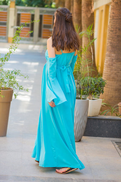 Luxury Sky Blue Cold Shoulder Maternity Gown