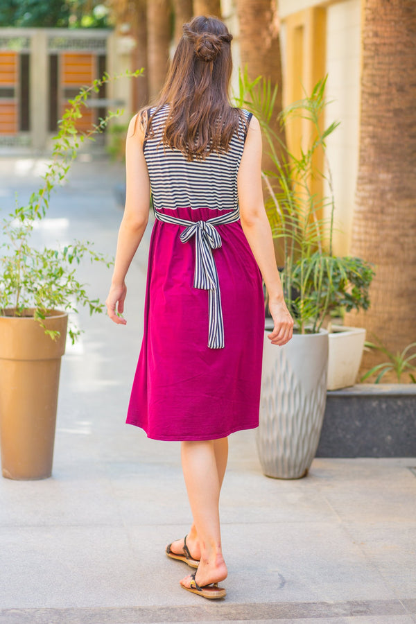 Maroon Striped Maternity Lycra Knee Dress