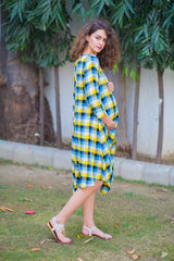 Baby Yellow Plaid Side Tie Maternity Dress - MOMZJOY.COM