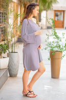 Side Shoulder Striped Lycra Maternity Dress