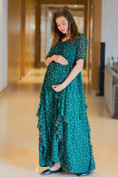Emerald Luxe Maternity Flow Dress - MOMZJOY.COM