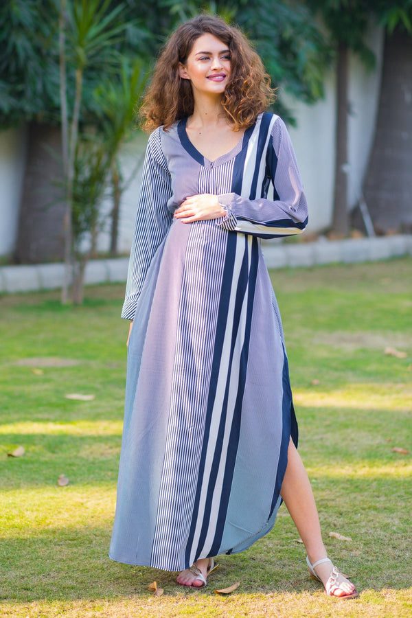 Aztec Striped Maternity & Nursing Crepe Dress - MOMZJOY.COM