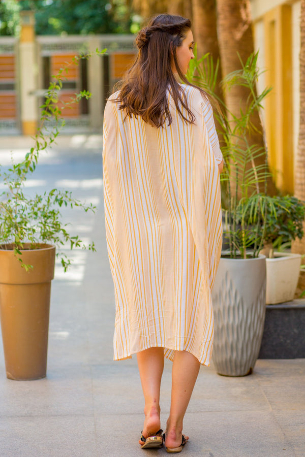 Breezy Mustard Stripe Maternity & Nursing Dress - MOMZJOY.COM