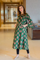 Chandelier Green Maternity & Nursing Kurta - MOMZJOY.COM