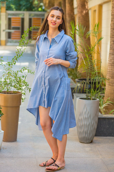 Denim Versatile Maternity & Nursing Asymmetrical Shirt Dress - MOMZJOY.COM