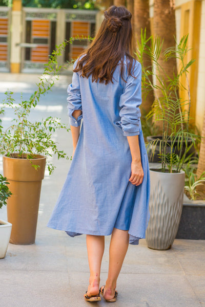 Denim Versatile Maternity & Nursing Asymmetrical Shirt Dress