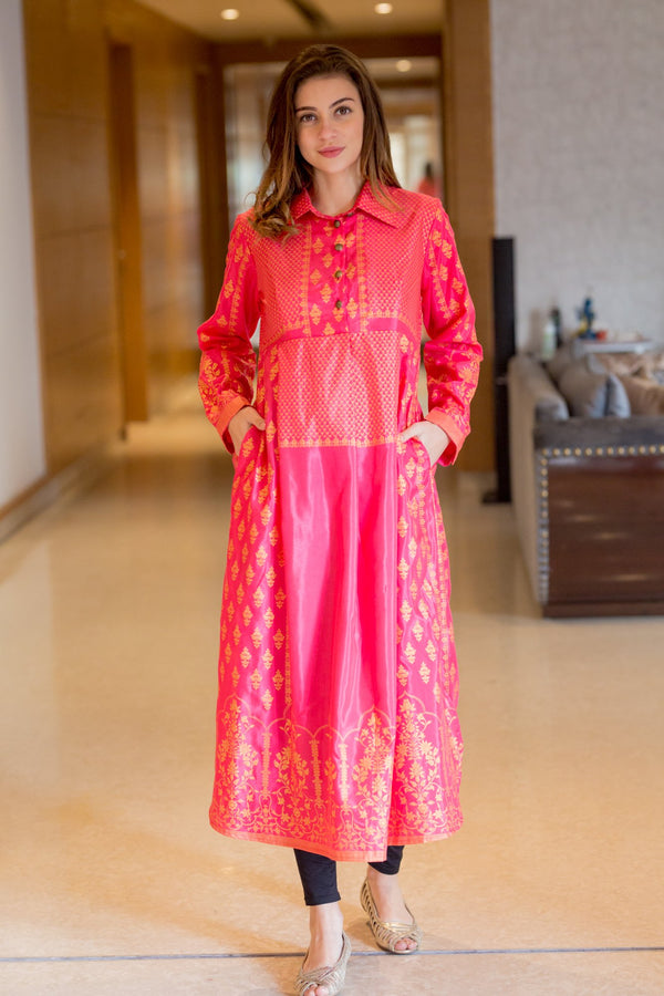 Peppy Pink Luxe Maternity and Nursing Kurta - MOMZJOY.COM