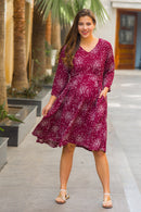 Scattered Burgundy Polka Maternity & Nursing Dress